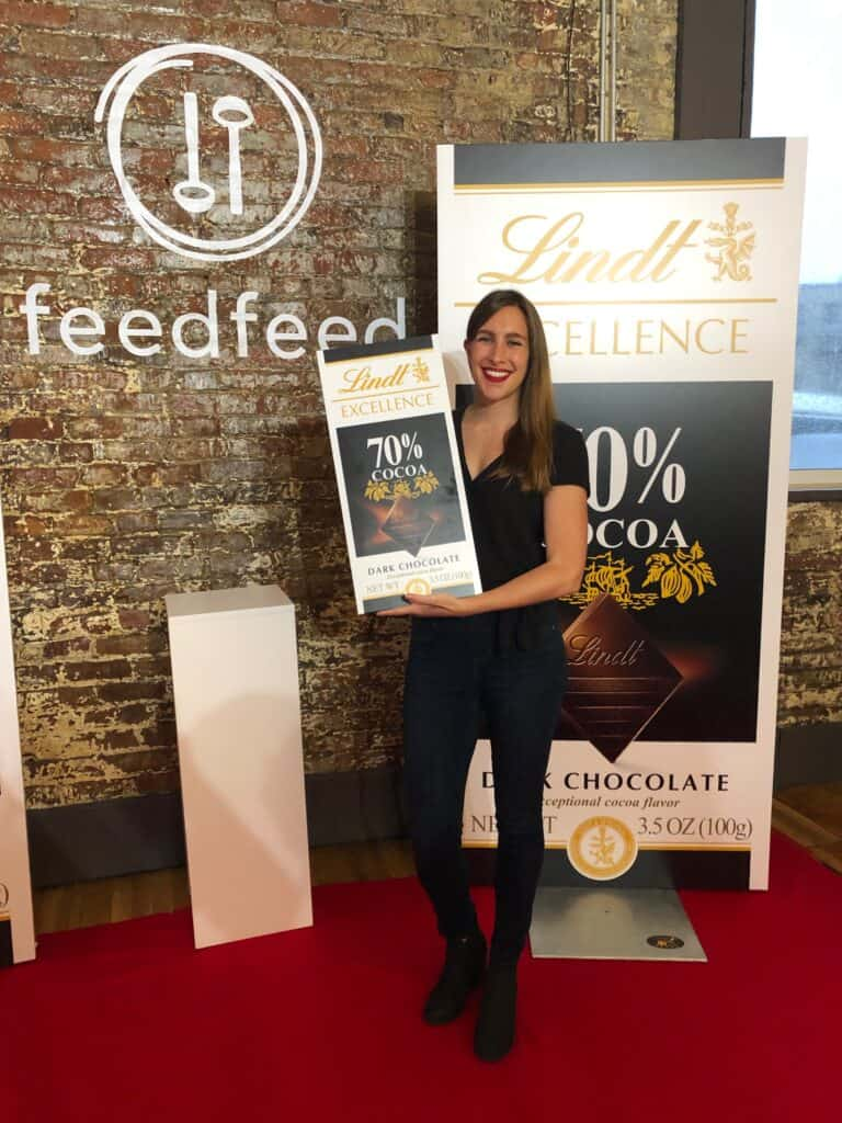 image of chelsey white of chelsweets at an event at the FeedFeed