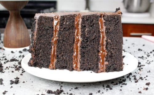 image of a slice of a moist, pudding filled chocolate blackout cake