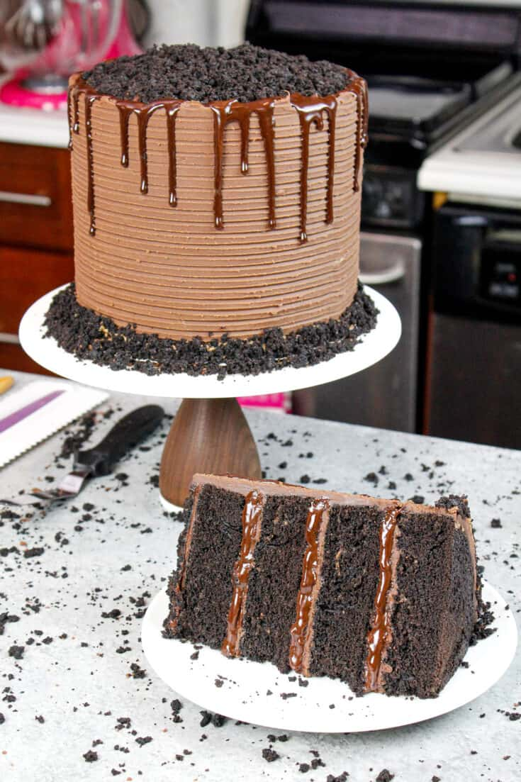 image of chocolate blackout cake, sliced into to show moist chocolate cake layers with pudding and ganache filling