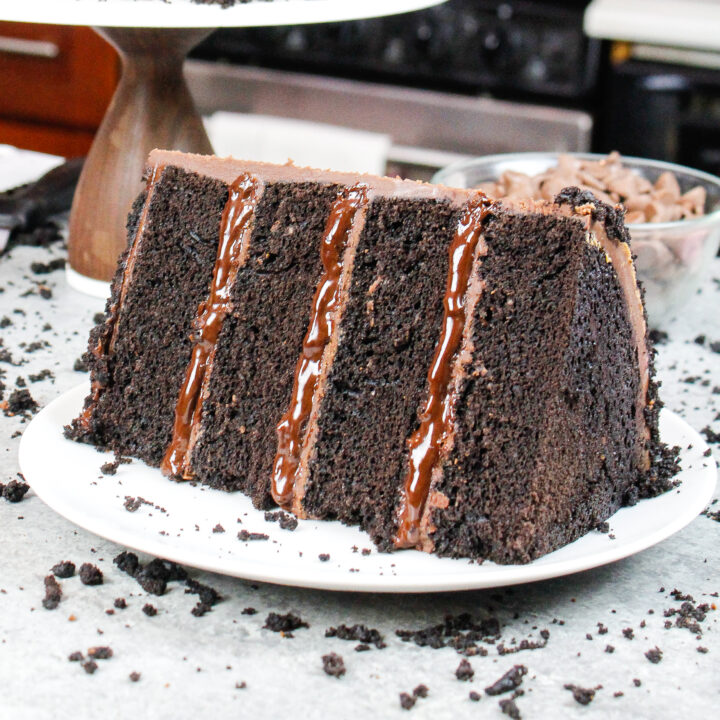 image of a slice of a chocolate blackout cake