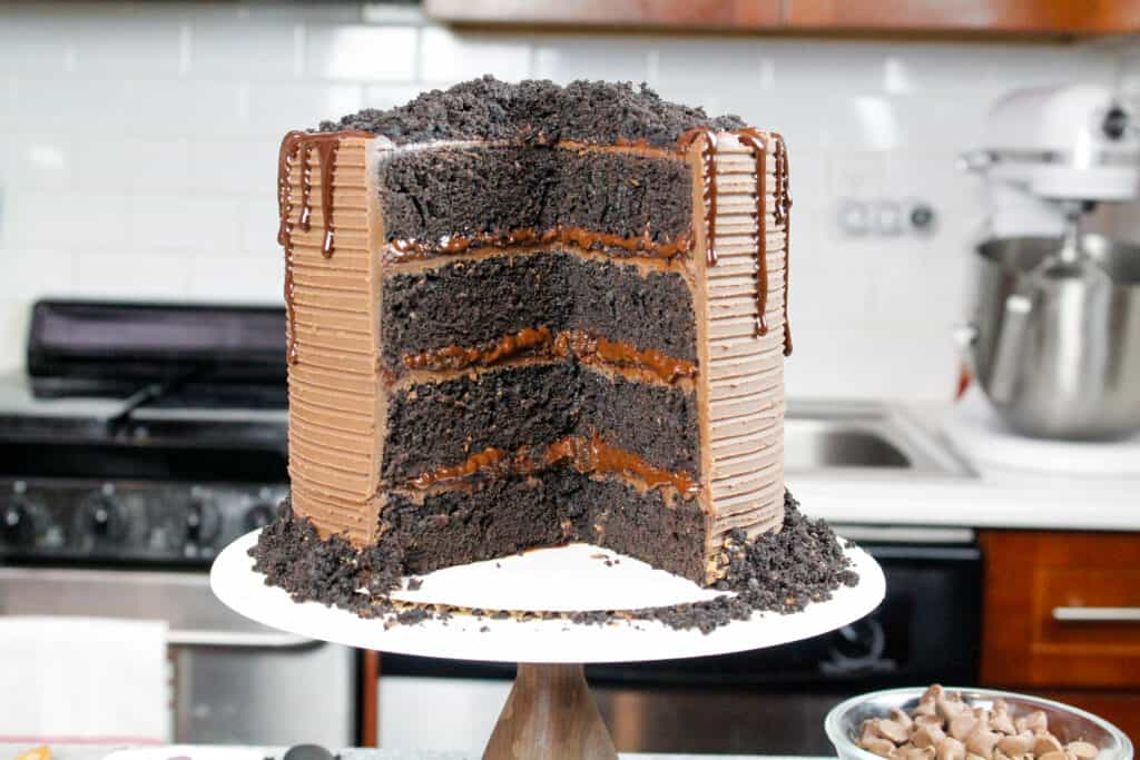 image of cut into death by chocolate cake with chocolate pudding filling