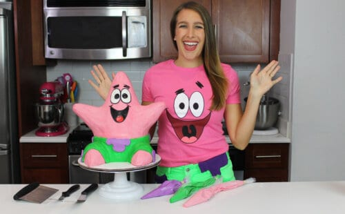 image of chelsey white with patrick star cake