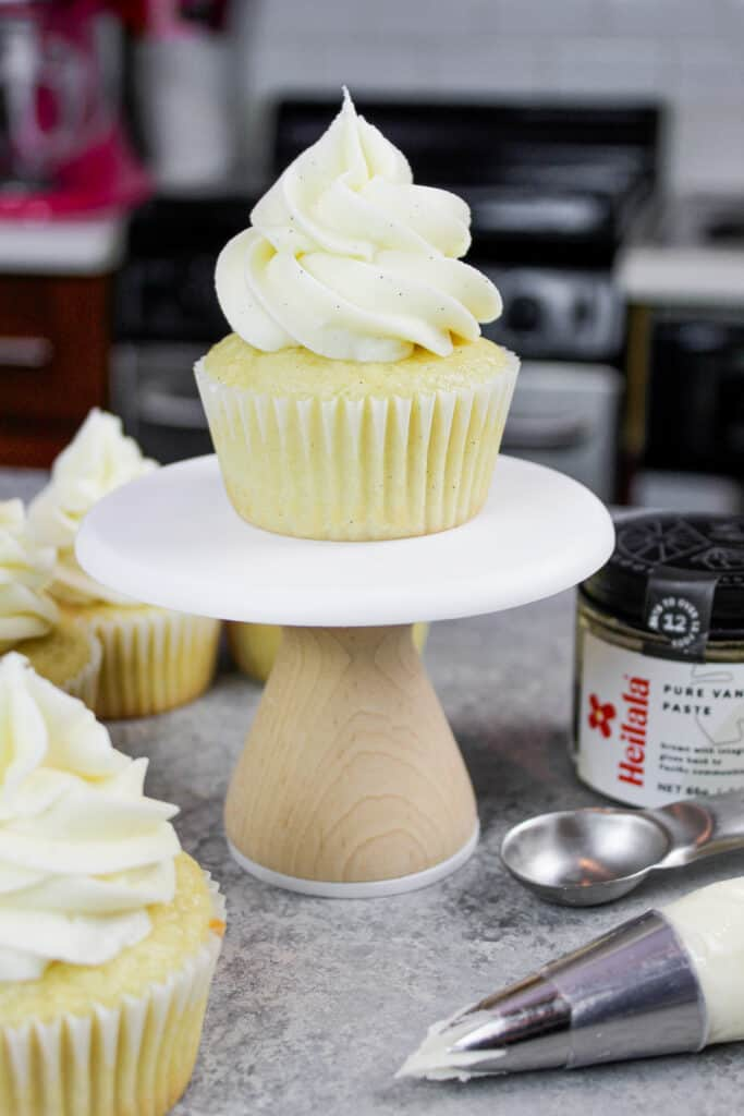 image of gluten free vanilla cupcake on mini cupcake stand