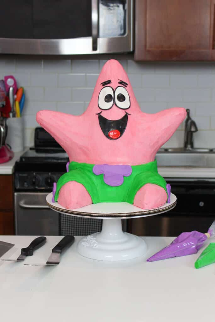 image of patrick star cake made with buttercream
