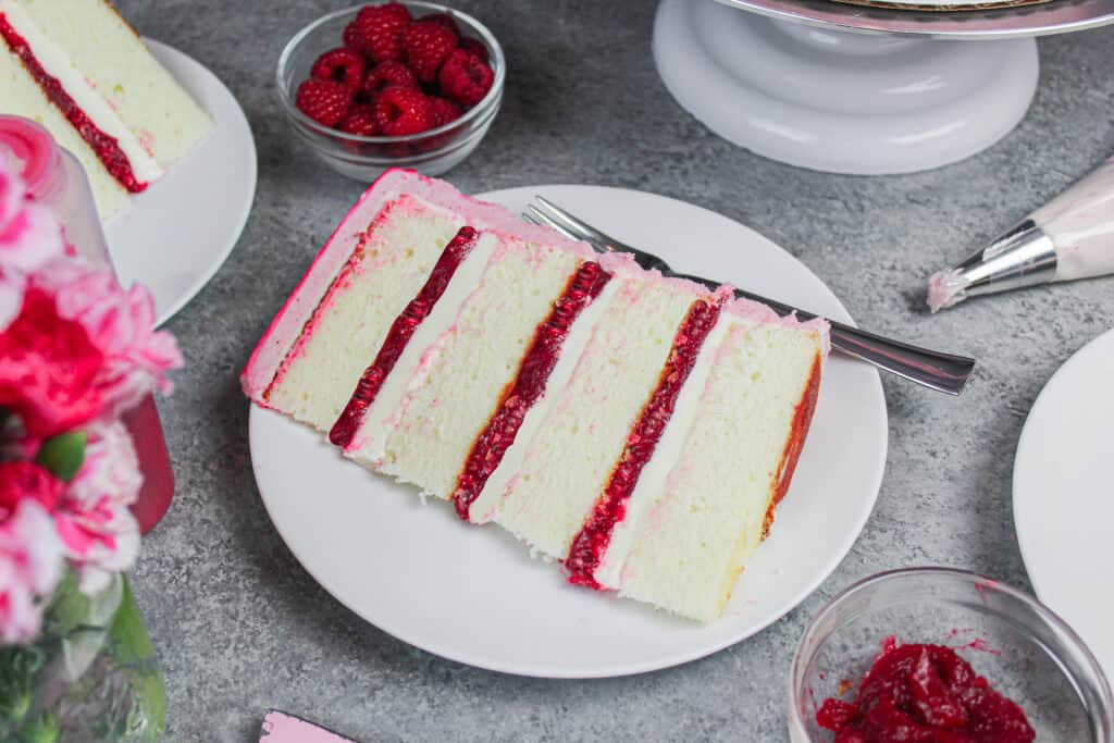 image of slice of white chocolate raspberry cake