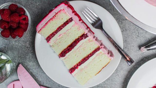 image of white chocolate raspberry cake slice