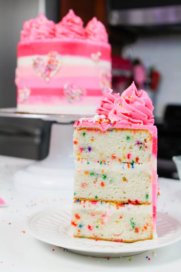 image of funfetti cake slice made from 6 inch cake layers