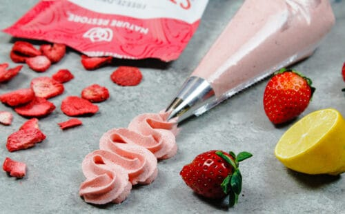 image of strawberry buttercream piped using a wilton 1m frosting tip