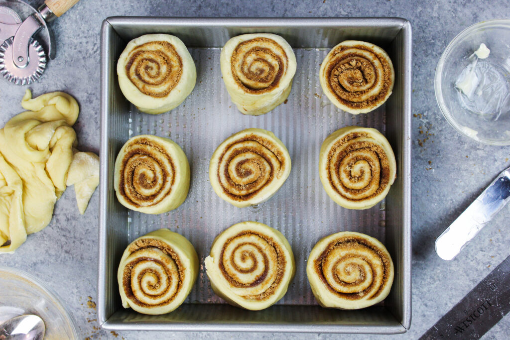 image of cinnamon rolls before their rise in the oven