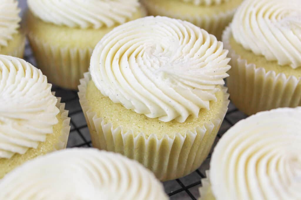 image of eggless or egg free cupcakes frosted with egg free buttercream frosting