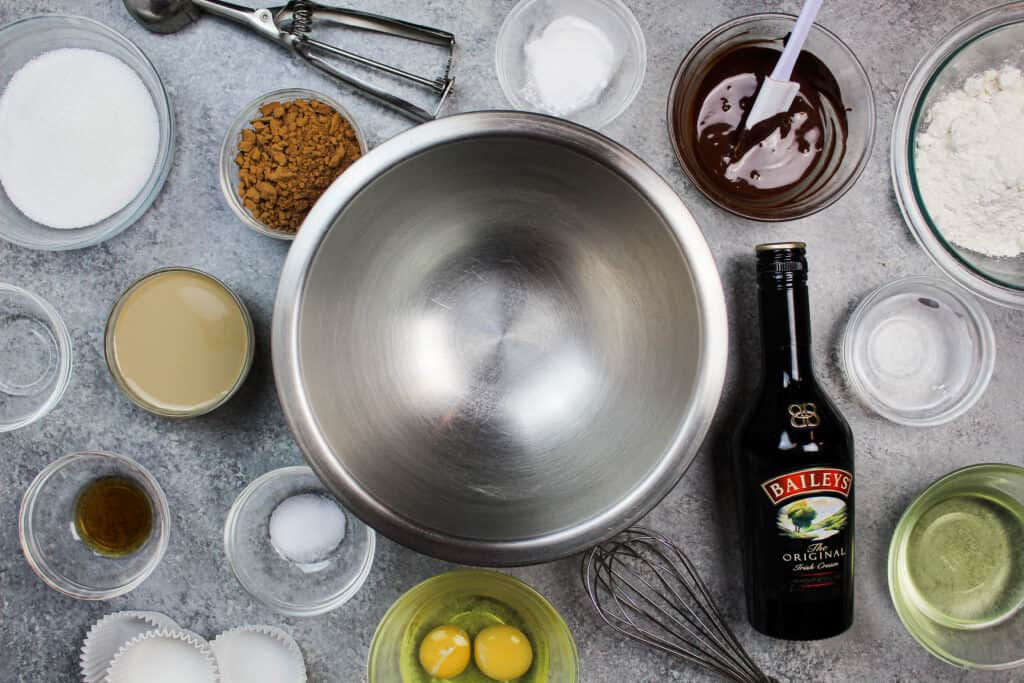 image of ingredients laid out to make baileys chocolate cupcakes
