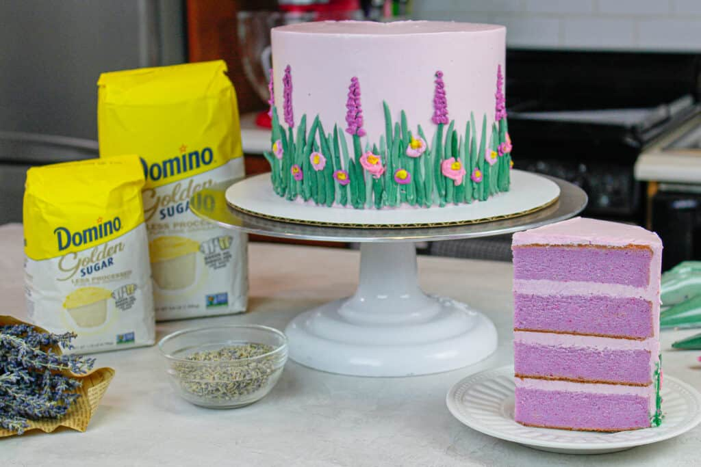 image of lavender layer cake made with Domino Sugar® Golden Sugar