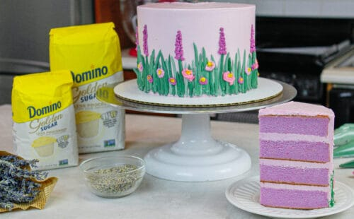 image of lavender layer cake made for spring and easter