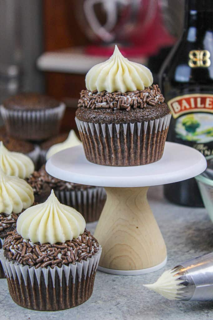 image of baileys cupcakes frosted with baileys buttercream frosting