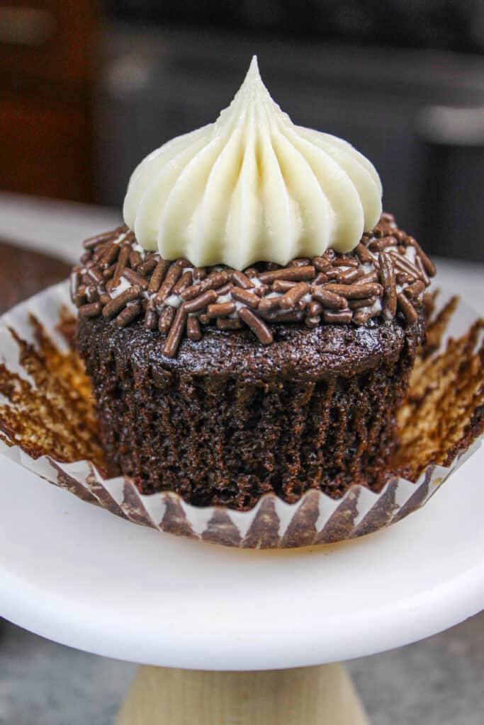 photo of baileys cupcake, unwrapped to show how moist it is