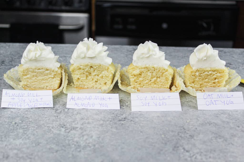 image of dairy free cupcakes made with different alternative milks, to see which alternative dairy is best to bake with