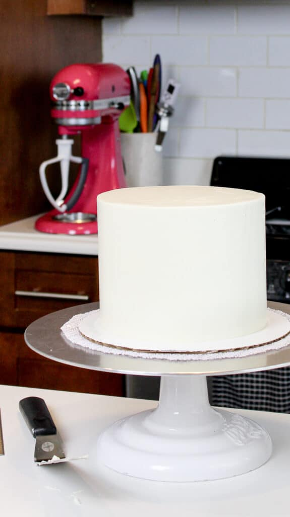 image of cake frosted with fluffy faux swiss meringue buttercream