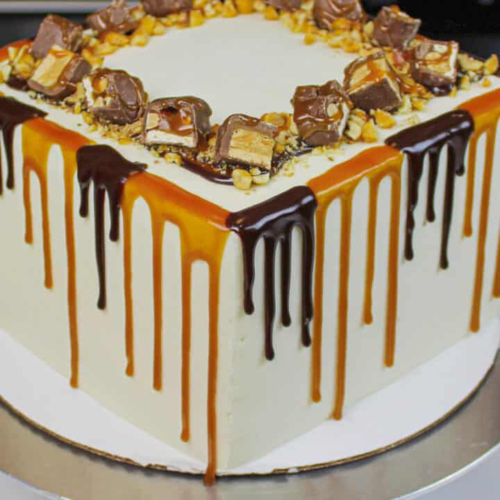 Surprising Snickers Drip Cake The Ultimate Candy Bar Cake Funny Birthday Cards Online Hetedamsfinfo