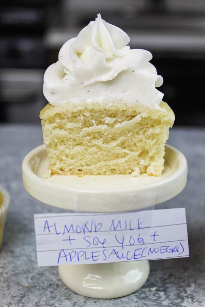 image of dairy and egg free cupcake made with applesauce and almond milk