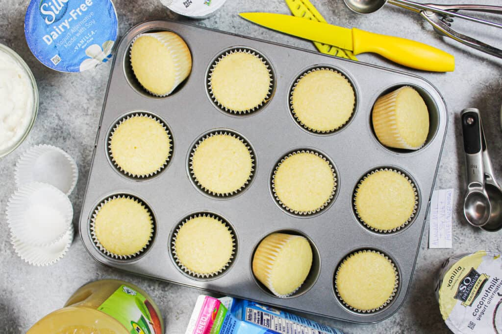 image of dairy free and egg free cupcakes baked in a cupcake pan