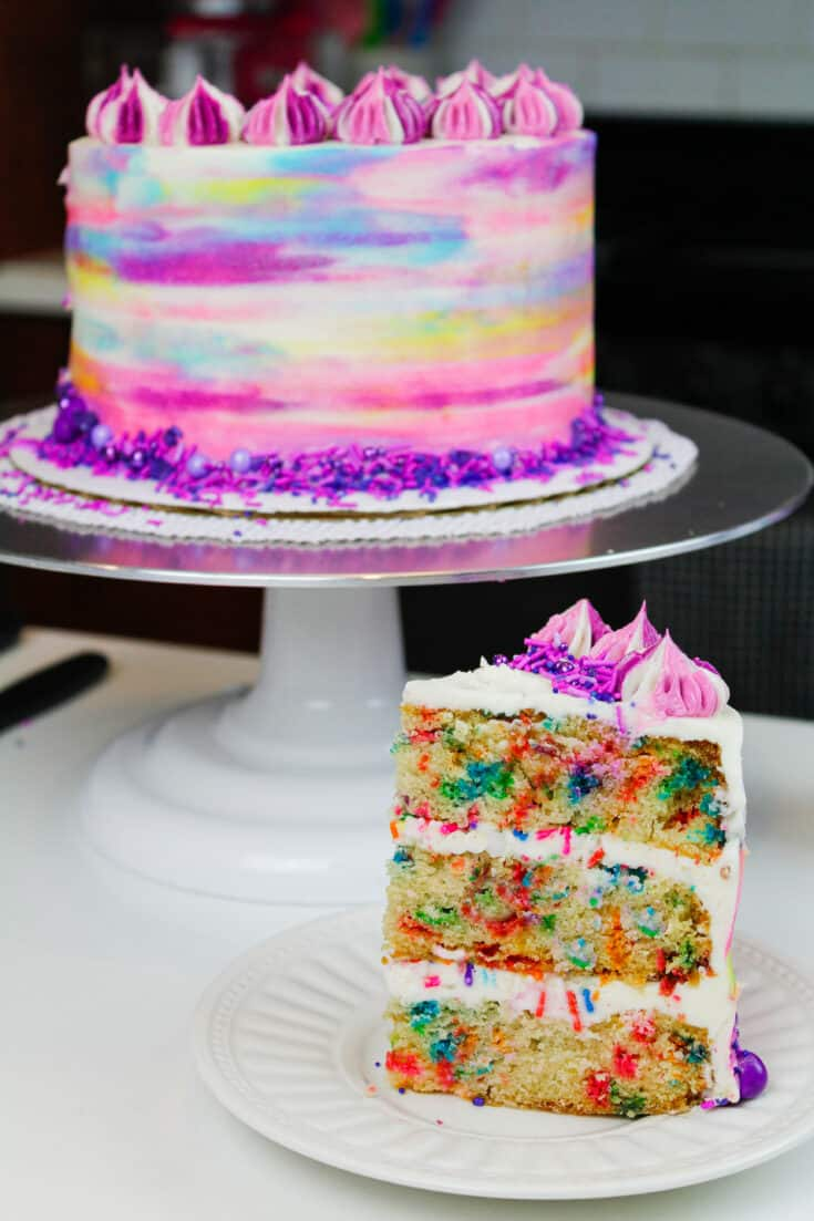 image of vegan funfetti cake slice