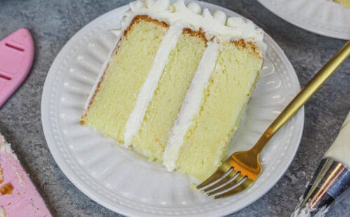 image of gluten free vanilla layer cake slice
