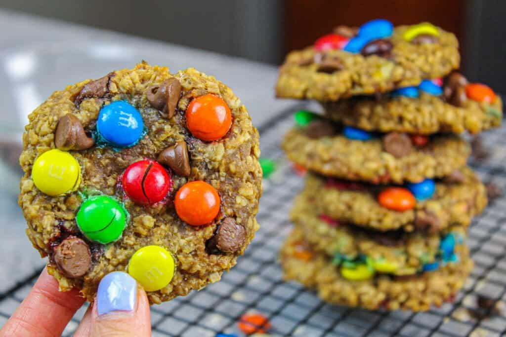 image of gluten free and vegan monster cookies