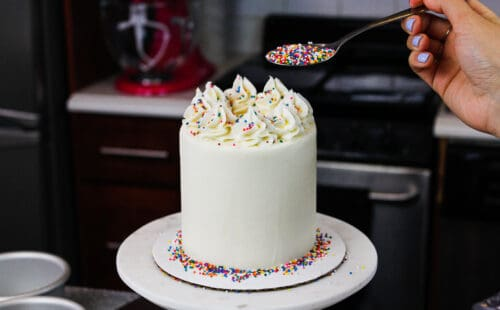 image of mini vanilla cake being decorated with rainbow sprinkles for a birthday