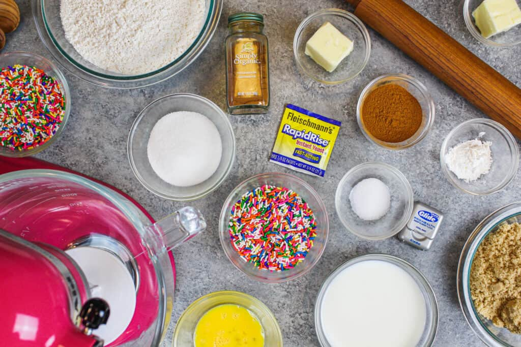 image of ingredients laid out for cinnamon rolls made with instant yeast in 1 hour