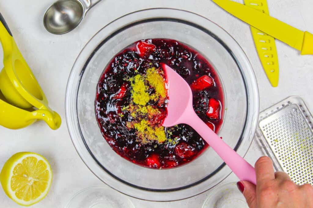 image of mixed berry cake filling being made for a berry chantilly cake