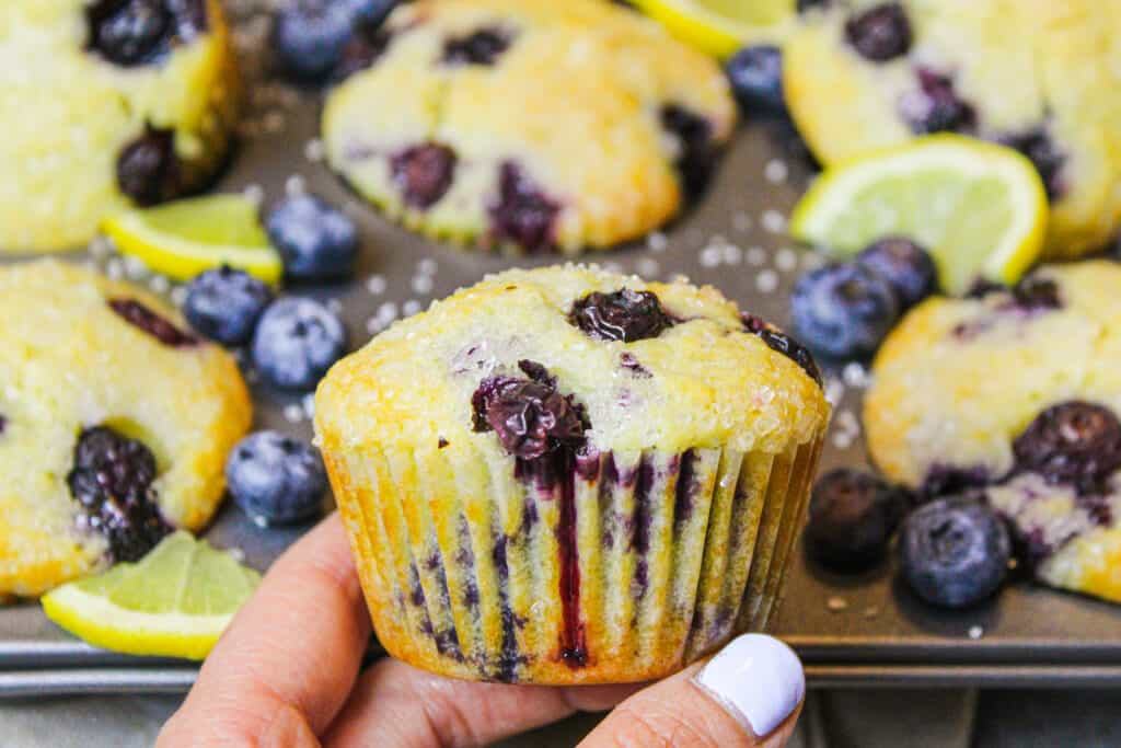 image of lemon blueberries muffins made with yogurt