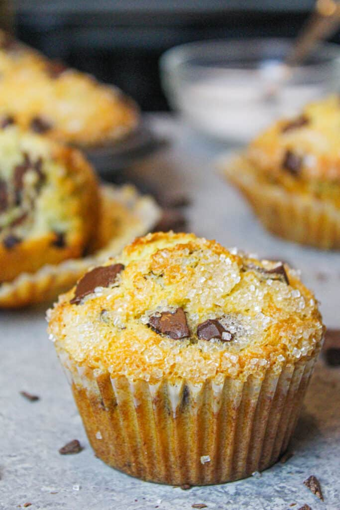 photo of baked bakery style chocolate chip muffin