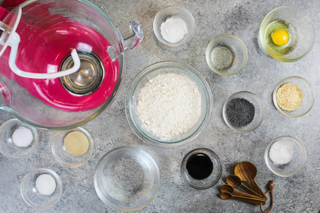 image of ingredients laid out on a counter, to help discuss all the different swaps that can be made in this baking substitutions guide