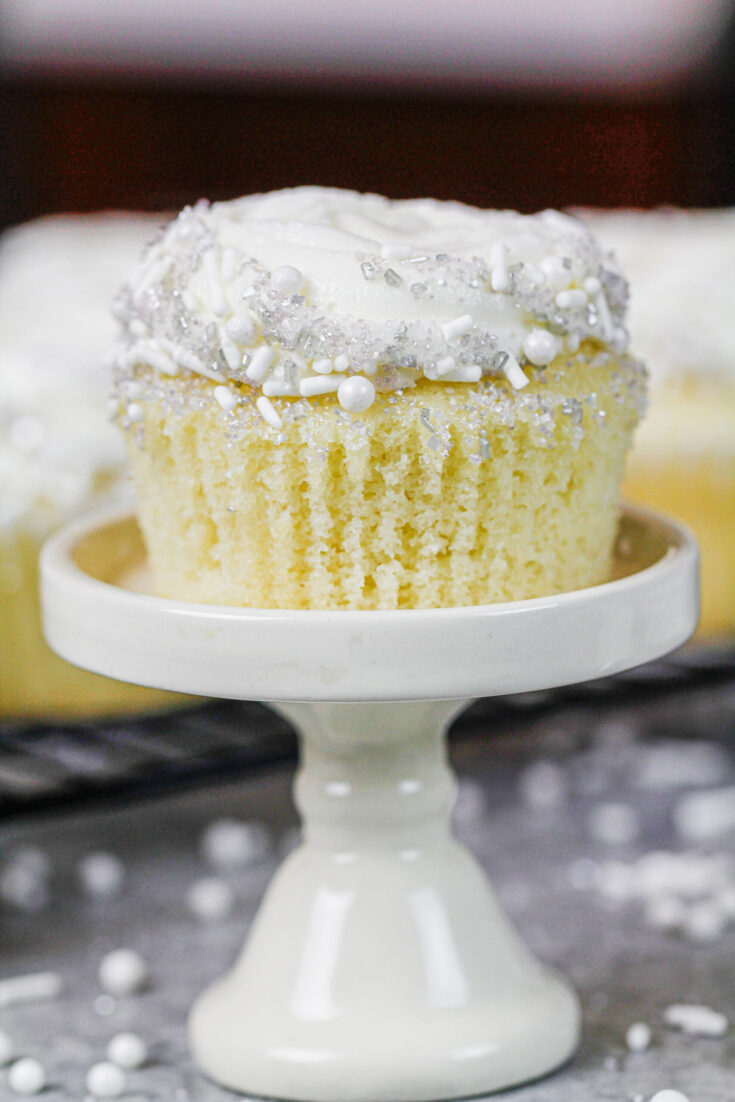 image of almond cupcake unwrapped