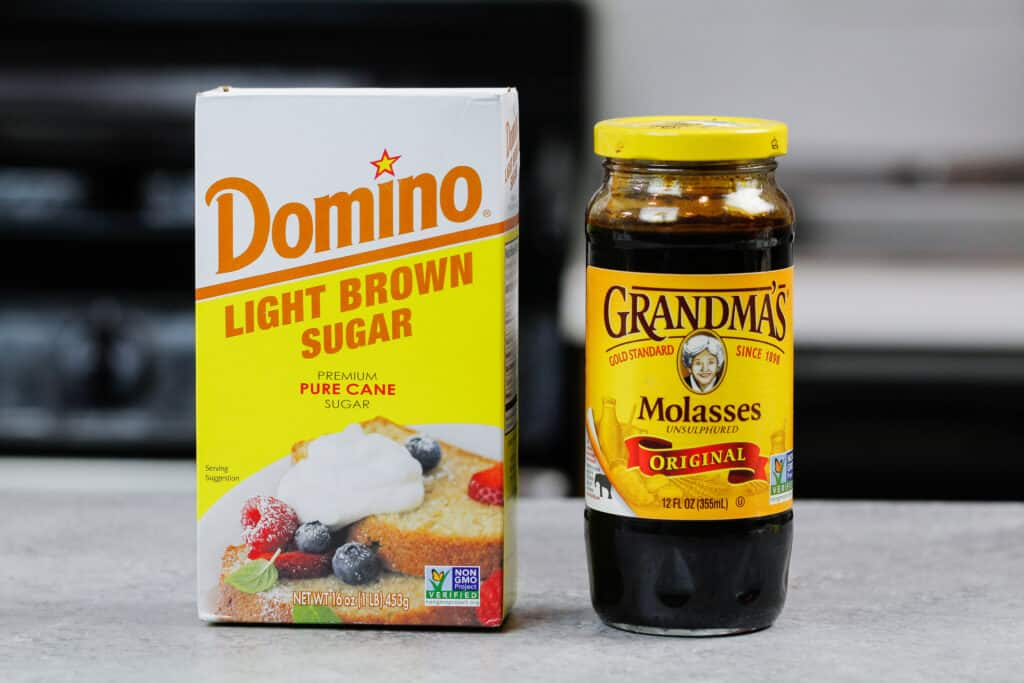 image of light brown sugar and molasses used to share different sugar substitutes that can be made in a baking substitutions guide