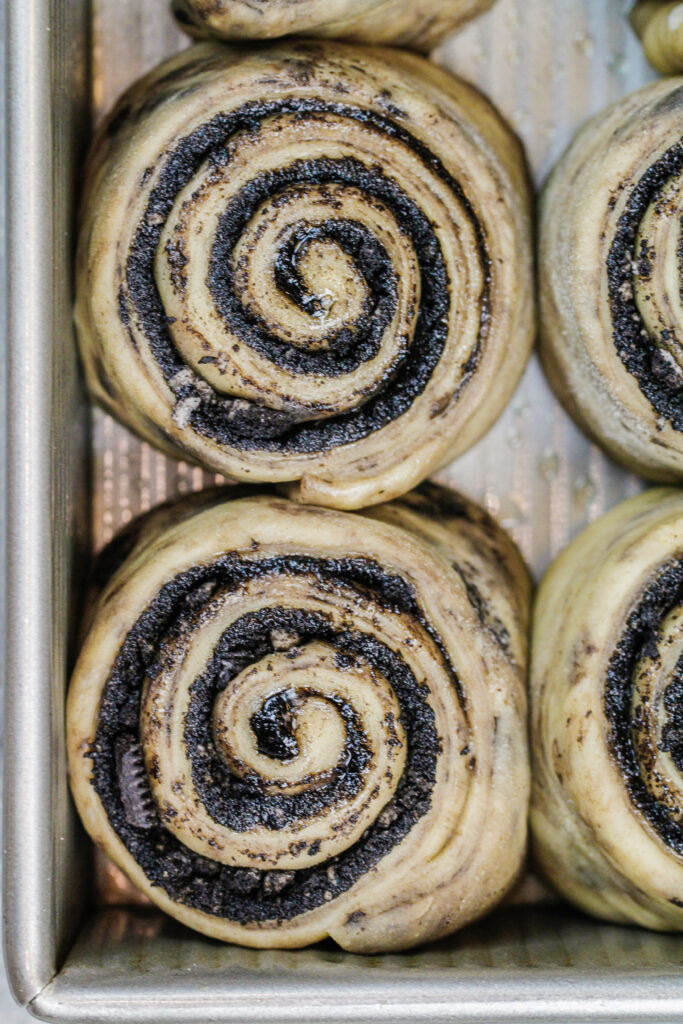 image of cinnamon rolls with dark chocolate filling ready to be baked