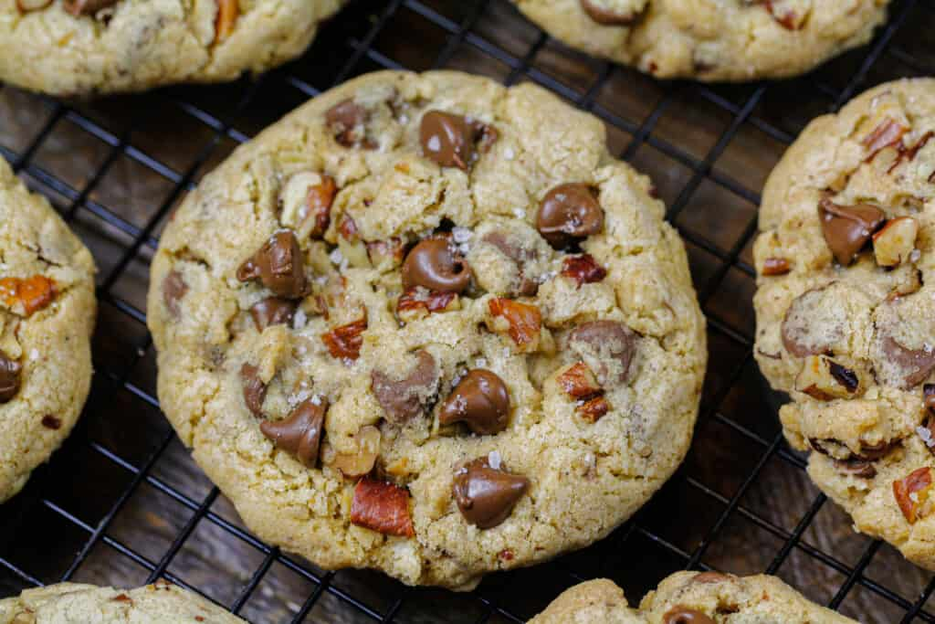 image of walnut chocolate chip cookie recipe cooling on a wire rack
