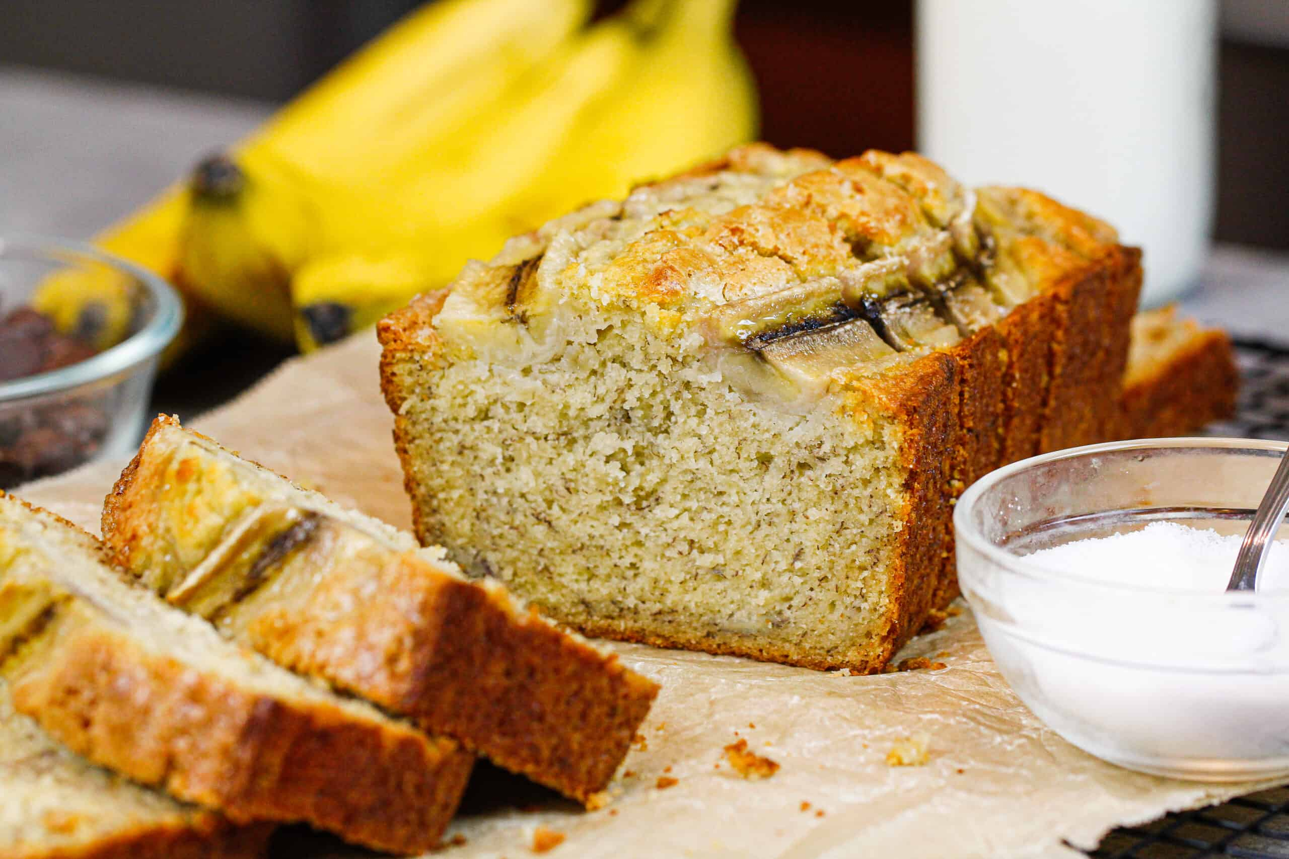 image of pretty banana bread loaf slices and ready to be eaten