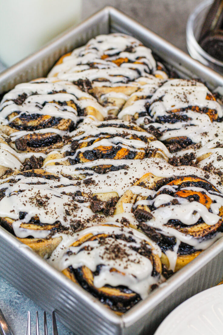 image of oreo cinnamon rolls baked and ready to be eaten