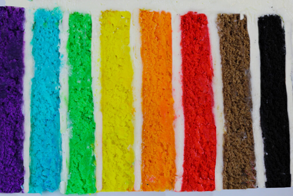 image of a rainbow cake slice made to celebrate pride and the LGBTQ community