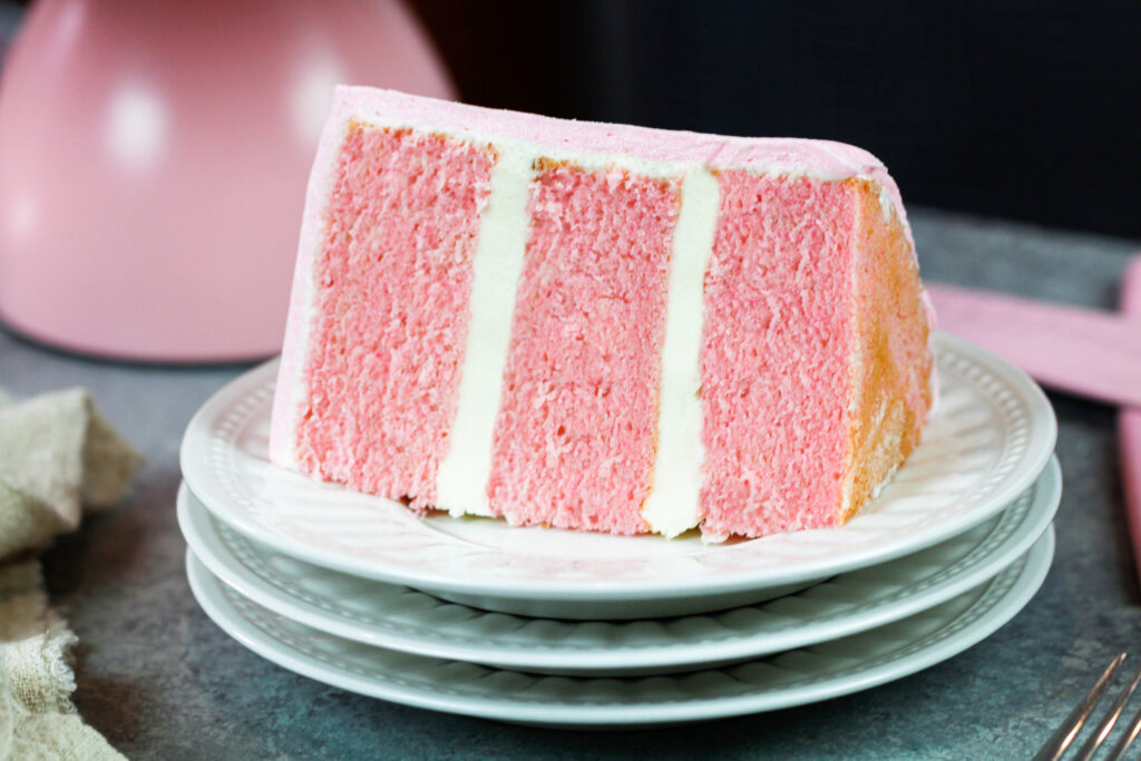 image of pink cake slice made for a pig birthday cake