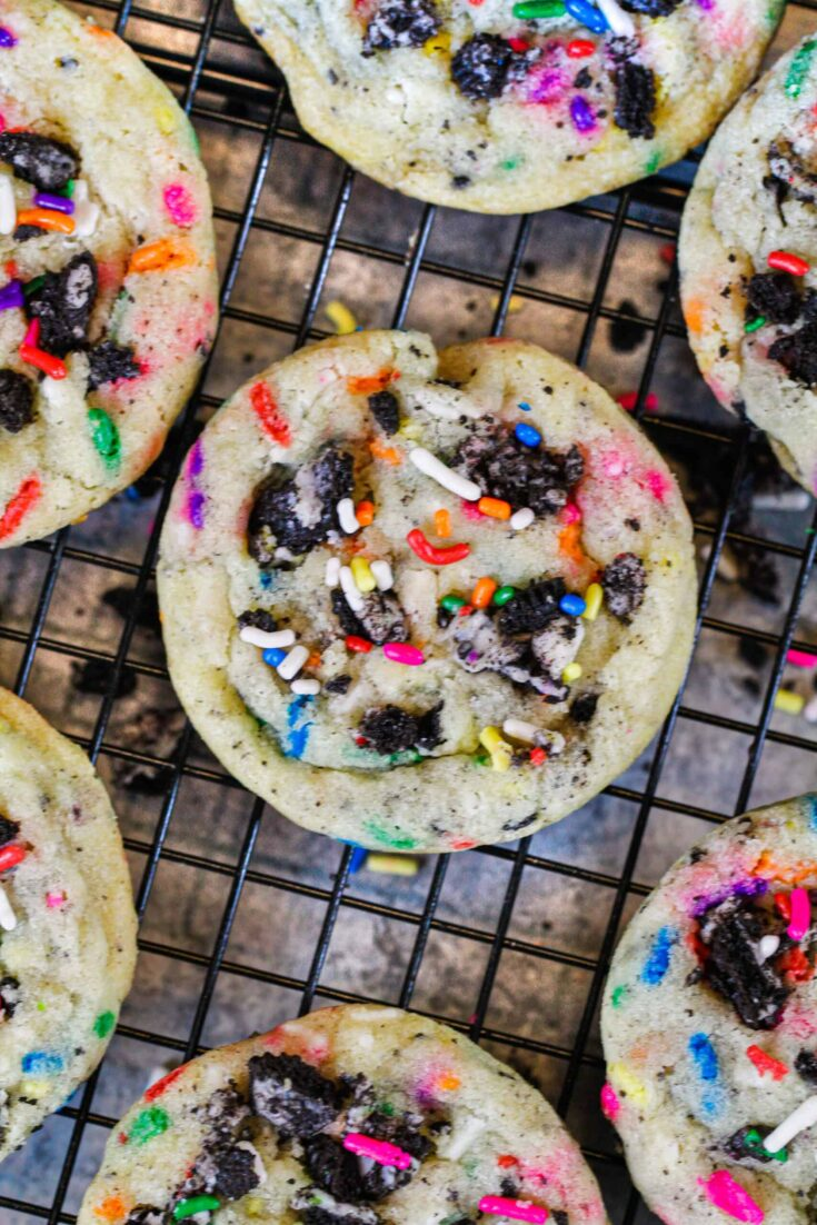 image of funfetti oreo cookies cooling on a wire rack