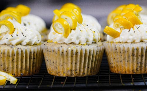 image of lemon poppy seed cupcakes decorated with cream cheese frosting