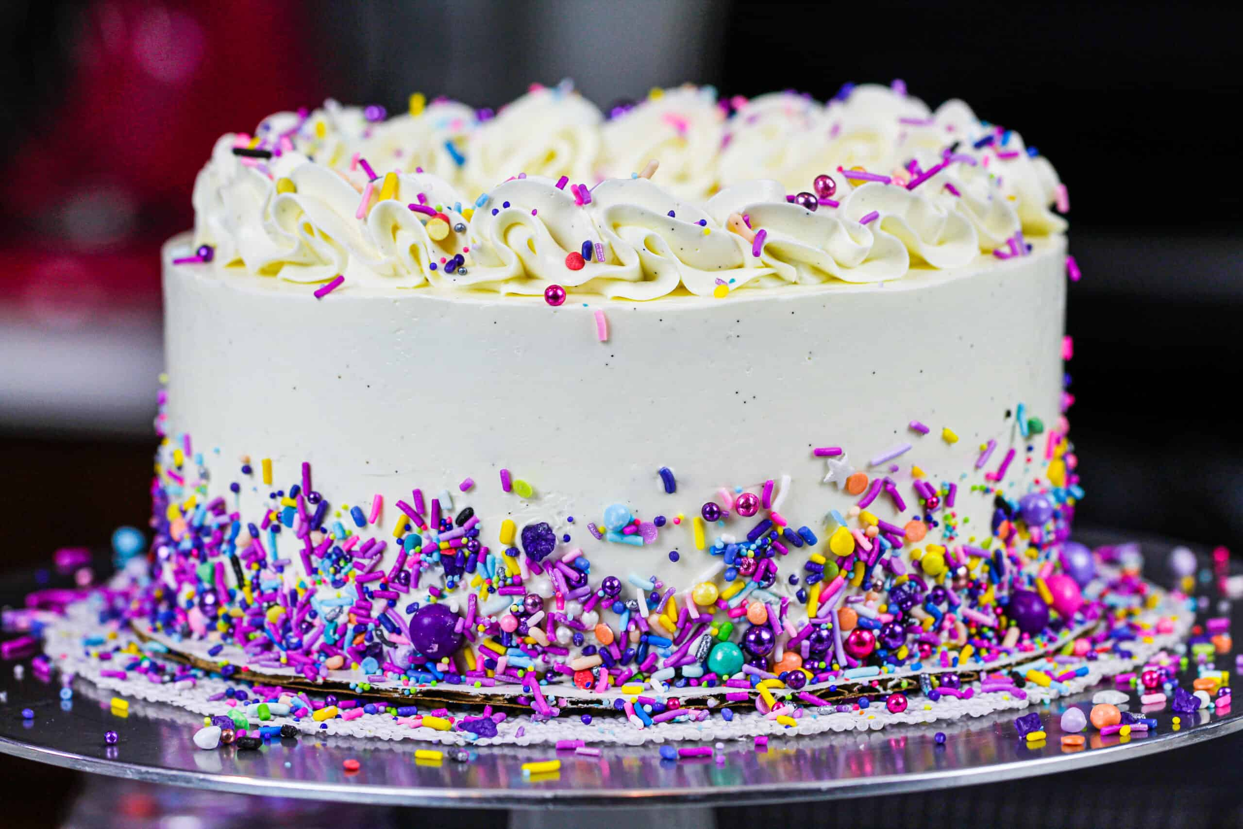 image of sugar free cake frosted with a sugar free buttercream frosting