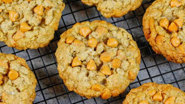image of oatmeal butterscotch cookies baked and cooling on a wire rack