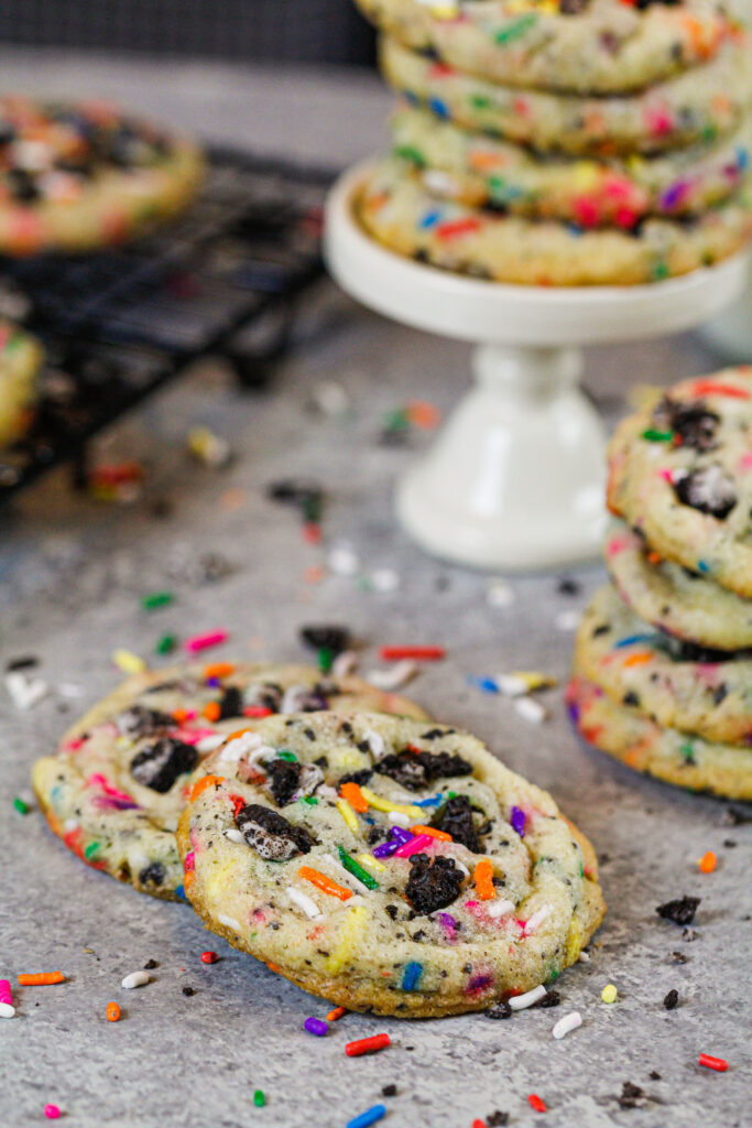 image of funfetti cookies that have been baked and are ready to be eaten