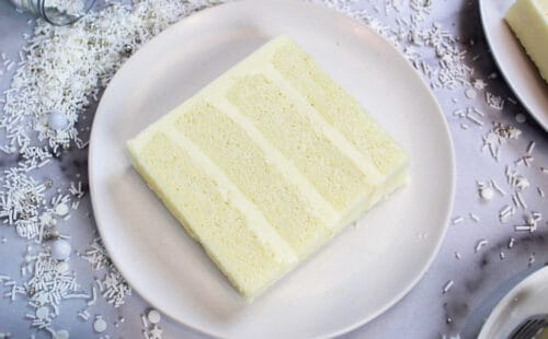 image of small batch wasc cake slice on a plate