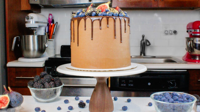 image of a small batch blackberry chocolate cake