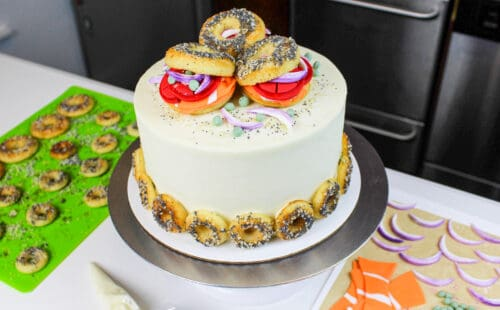 image of bagel cake decorated with mini bagels