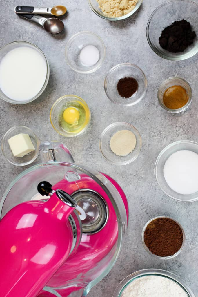 image of ingredients laid out to make chocolate cinnamon rolls